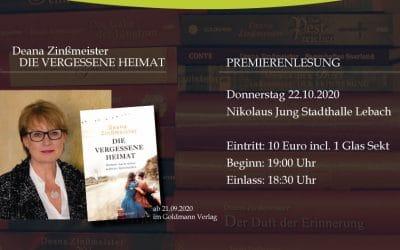 Deana Zinßmeister – PREMIERENLESUNG – 22.10.2020 – Die vergessene Heimat