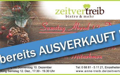 AUSVERKAUFT – Adventsmenü zum Mitnehmen – Samstag Abend 12. Dezember